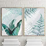 KDSMFA Arte de pared de hoja de helecho, hojas de plátano, lienzo de palma, acuarela, carteles e impresiones nórdicos para decoración de sala de estar/60 x 80 cm x 2 piezas sin marco