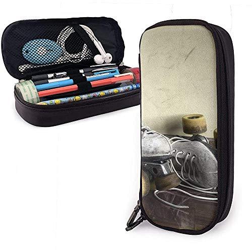 Pu-Leder-Federmäppchen, Rollschuh-Aufbewahrungs-Stiftetui Mit Großer Kapazität, Kosmetik-Schminktasche, Schreibwaren-Organizer-Bleistiftbeutel