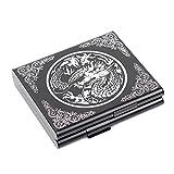Carved Dragon Aluminum Metal Cigarette Case Card Case Holder for 20 Cigarettes (Black)