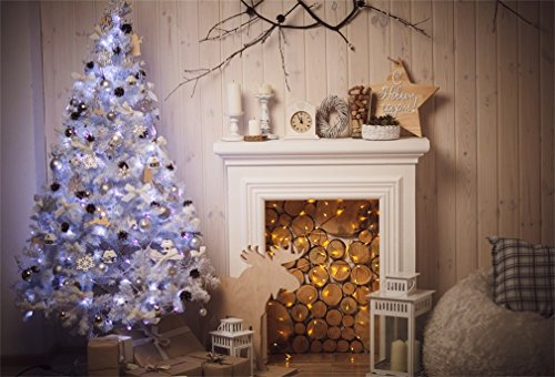 YongFoto 7x5ft Fotografie Achtergrond Kerstboom Open haard Firewoods Rendier Lantaarn Geschenken Doos Hout Muur Interieur Foto Achtergrond Fotografie Video Party Kids Portret Photo Studio Props