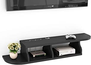 Tribesigns 2 Tier Modern Wall Mount Floating Shelf TV Console 47.2x10.6x7 inch for Cable Boxes/Routers/Remotes/DVD Players/Game Consoles (Black Color)