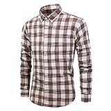 メンズフレッシュプラッドロングスリーブシャツメンズコットンシャツビジネスデイリーレジャーワークスリムエディション-スタンドカラーシャツ
