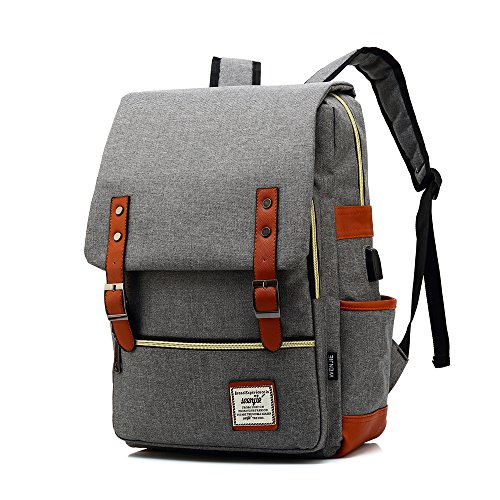 Version 2.0 Professional Laptop Backpack with USB Charging Port Canvas Business Work Computer Rucksack College School Casual Daypack - Grey