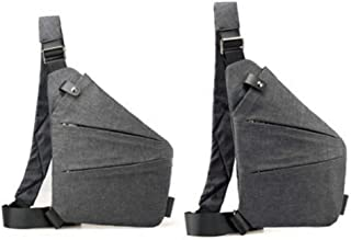 Just Today Waterproof Personal Shoulder Pocket Bag (Left shoulder, Gray)