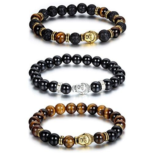 Cupimatch-Herren/Frauen-Armband - synthetischer 8-mm-Achat-Lava-Stein - Buddha-Symbolik-Perlen-Armband, Muttertags-/Vatertags-Geschenk, 3 Stück