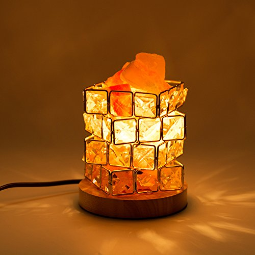 HALOVIE Cristallo Lampada di Sale, Naturale Lampada di Sale Salgemma 15W Lampada da Scrivania Luce Notturna a Forma di Cubo di Rubik Lampada Elegante e Magica con 2 Lampadine