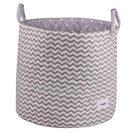 Minene Large Storage Chevrons Basket with Stars (Grey/White)