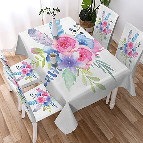 XXDD Mantel Simple con patrón de Flores, Mantel Impermeable, Hoja de Acuarela, decoración del hogar, Mantel a Prueba de Polvo A4, 140x160cm