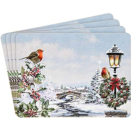 Christmas Festive Robins Scene Placemats Set Of 4 Dining Table Place Mats Amazon Co Uk Kitchen Home