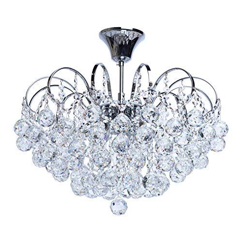 MW-Light 232017506 Lustre Magnifique Design Baroque en Métal couleur Chrome Brillant décoré de Pampilles Boules en Cristal pour Salon Salle de Séjour Chambre 6x60W E14