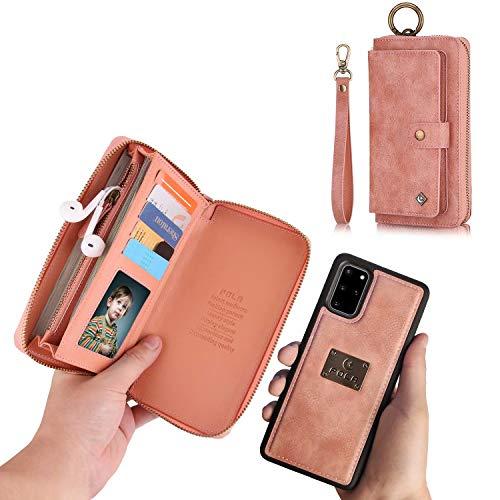 TianSui Galaxy S20 Plus Hülle Schutzhülle Ledertasche Leder Wallet Case Handyhülle Geldbörse mit Reißverschluss,Kartenfächer und Abnehmbar Magnet Handy Schutzhülle für Samsung Galaxy S20 Plus,Rosa