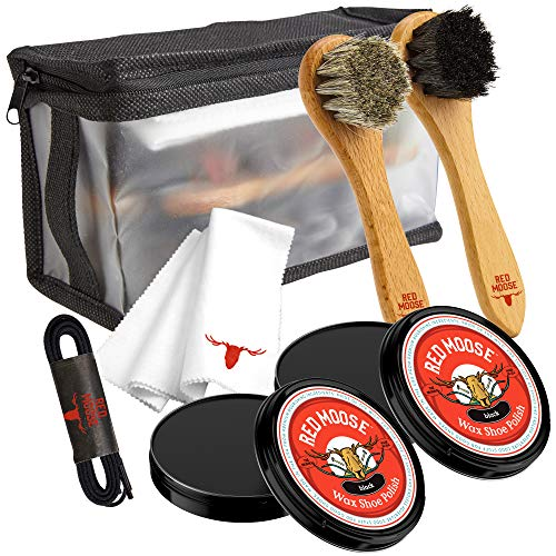 Red Moose Full Leather Wax Shoe Polish Kit  2x Brush Buffing Cloth Travel Case Laces