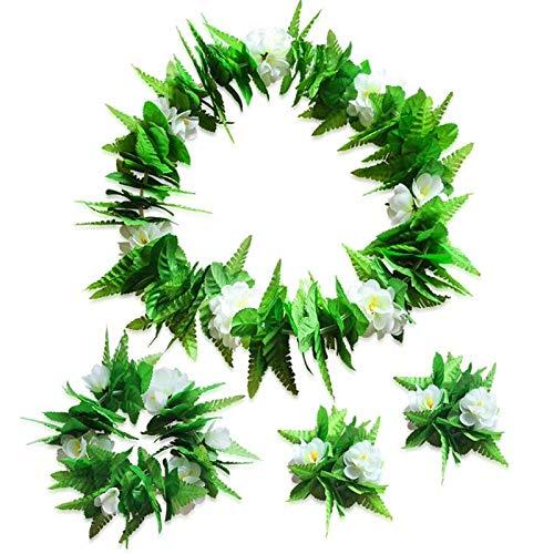YiXing 4-teiliges Hawaii-Blumenketten-Set, Lei Luau Hula, Kostüm, Strandteil, Blumengirlande, Halskette, Haarband, Armband (Farbe: 4 Stück)