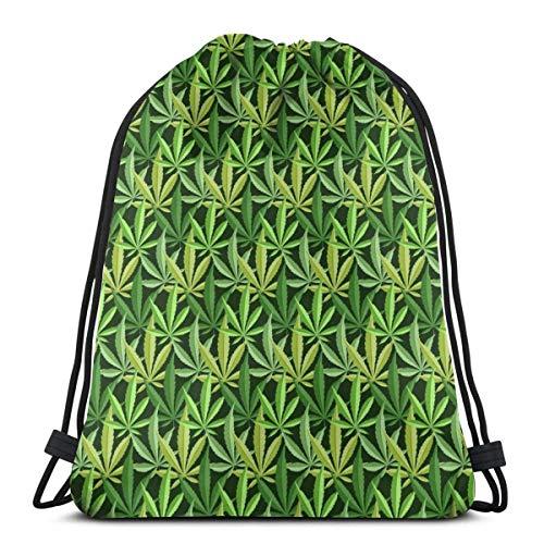 Jhonangel Fondo de Marihuana Gym Sack Bag Mochila con cordón Mochila Deportiva para Hombres y Mujeres Mochila de Viaje Escolar 36 x 43cm / 14.2 x 16.9 Pulgadas