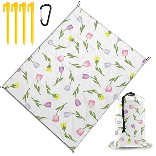 Best Buy! Outdoor Picnic Blanket 67x57inch Colorful Tulips Foldable Waterproof Extra Large Picnic Ma...
