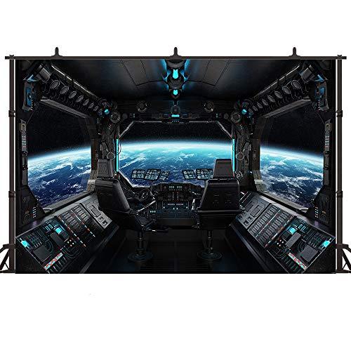 Felizotos Outer Space Black Spaceship Backdrop Universe Galaxy Spacecraft Interior Photography Backdrops Planet Earth Astronomy Decoration Photo Props 6x4ft