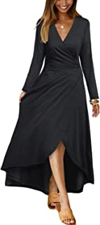 OUGES Womens Casual V Neck Long Sleeve High Low Maxi Dress Asymmetrical