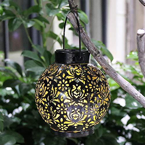 SANGSHI Farol oriental al al aire libre, lámpara solar cilíndrica de hierro de diseño de flores, resistente al agua, lámpara colgante decorativa