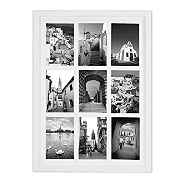 Golden State Art, 13.6x19.7 Matted White Wood 9-Opening for 4x6 Collage Picture Frame