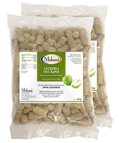 Makana Apfel Leckerlie Snack für Pferde, 2 x 1000 g Beutel (2 x 1 kg)