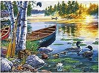 BOIPEEI パズル1000個木製大人Diyジグソーパズル創造性ギフト用のおもちゃを想像してみてください75X50Cm湖の風景