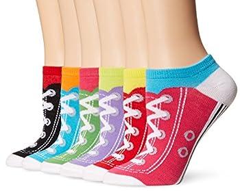 K Bell Women s 6 Pack Novelty No Show Low Cut Socks Sneakers  Assorted  Shoe Size  4-10