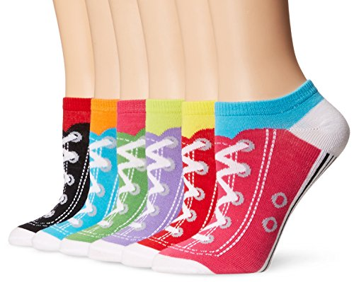 K. Bell Women's 6 Pack Novelty Crew Socks, Assorted Sneakers, 9-11