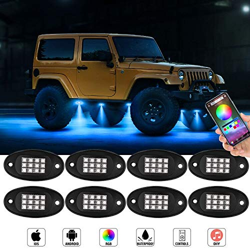 RGB LED Rock Light Kit LncBoc 8 Pods LED Unterbodenbeleuchtung Interieur Rock Light mit Bluetooth Steuerung & Timing & Musik & Blinkende Neonlichter für Offroad Truck SUV Motorrad