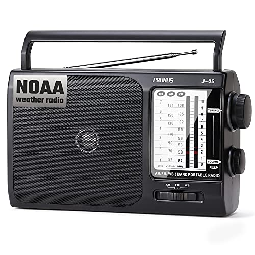 J-05 Portable AM FM Radio NOAA Weather Transistor Radio with Excellent Reception, Battery Operated by 3X D Cell Batteries or AC Power for Household & Outdoor, by Prunus