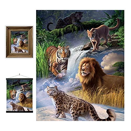 3D LiveLife Lenticular Cuadros Decoración - Grandes felinos de Deluxebase. Poster 3D sin marco de animales salvajes. Obra de arte original con licencia del reconocido artista, Jerry LoFaro