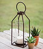 Greenville Pillar Metal Candle Lantern Candle Holder with Clear Glass, Rustic Indoor / Outdoor Light for Your Home Decor - Modern Rustic Vintage Farmhouse Style
