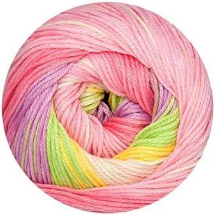 Online Linie 165Sandy Design Color 100g Cotton Summer Yarn, 0305 rosa-gelb-hellgrün-creme, Farbe