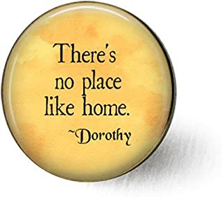 feng qing There's No Place Like Home - Wizard of Oz Quote - Oz Jewelry - Dorothy Quote - Ruby Slippers - Homesick Gift - Welcome Home Gift - Toto Brooch