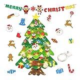 aovowog arbol de Navidad de Fieltro para Niños 3.28FT DIY Adornos de Navidad para la casa Luces arbol Navidad LED Decoración de Vacaciones