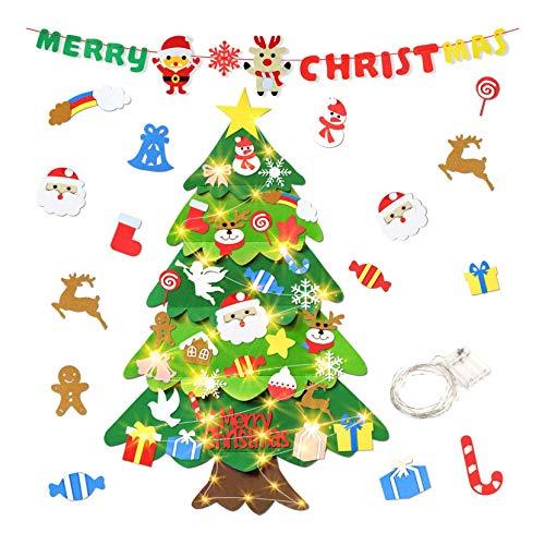 aovowog Feltro Albero Natale, 3.28ft Albero Natale, 50 luci a LED + 32 Piccoli Ornamenti della Staccabili + 1 Banner di Natale, Decorazioni per Pareti di Porte, Regalo di Natale per Bambini