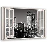 Feeby Cuadro de Pared XXL NYC Impresión Lienzo con 3D Efecto Blanco y Negro 120x80 cm