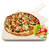 Merrynice Pizza Stone, Pizza Grilling Baking Cooking Stones with Wooden Pizza Peel for Grill Oven...