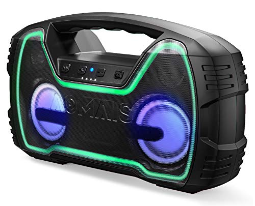 Portable Bluetooth Speaker, True Wireless Stereo Pairing 2 Speakers for a Powerful 50W Bass Sound, 100Ft Bluetooth Range, 40 Hrs Playtime, IPX7 Waterproof Speaker, Built-in Mic, Indoor, Outdoor Party