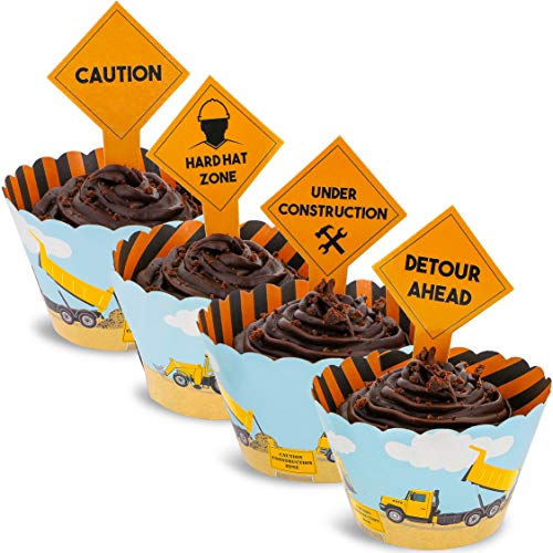 Juvale 100-Piece Construction Zone Cupcake Toppers and Wrapper Liners for Kids Birthday Party Supplies