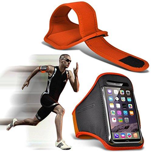 I-Sonite (naranja) ajustable a prueba de sudor/agua deportes Fitness Running Ciclismo Gym Brazalete caso teléfono para BQ Aquaris V [XXL ]