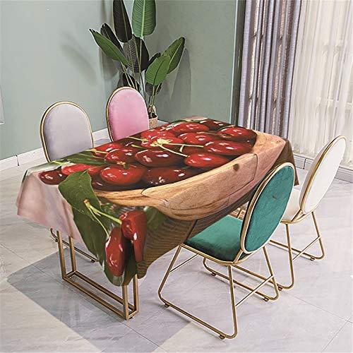 CCBAO Mantel Rectangular De Poliéster con Impresión 3D, Mantel De Hotel para El Hogar, Mantel Impermeable con Estampado De Frutas, Mantel De Té 140x180cm