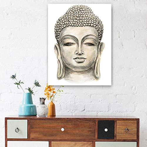 Moderne HD Leinwand Ölgemälde für Wohnzimmer Hand gezeichnete Buddha Kopf Wandplakate Home Decor Bild-50 cm x 75 cm ohne Rahmen