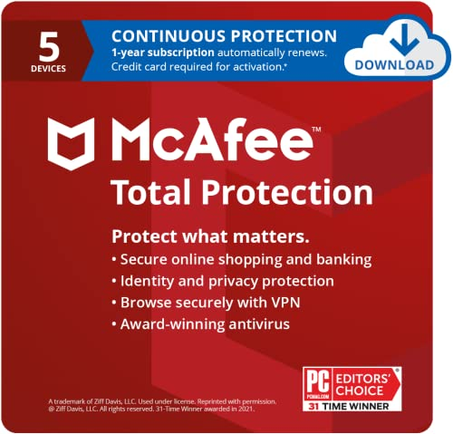 McAfee Total Protection 2021, 5 Device, Antivirus Internet Security Software, VPN, Dark Web monitoring, 1 Year with Auto Renewal - Download Code