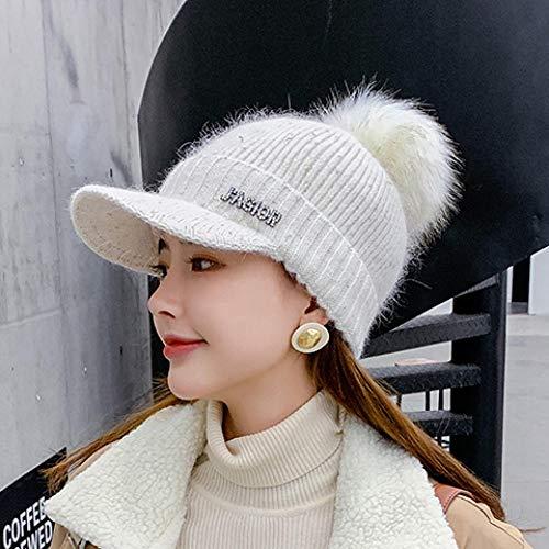 Roshow Wollen muts dames herfst en winter Koreaanse versie van de schattige en mooie plus fluweeldikke warme slab tweedelige gebreide muts één maat (56-58 cm) _283# - zuiver wit