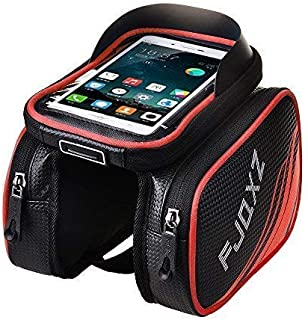 fjqxz Bike Bag Bicycle Mobile Cell Phone Bag Case Top Tube Bag Handlebar Saddle Bag with Touch Screen Phone Case Red