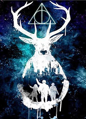 5D Diy Diamante Pintura Punto De Cruz Hecho A Mano Bordado De Diamantes Harry Potter Diamantes De Imitación Diamante Mosaico Ciervos Animales Decoración Del Hogar-45x60cm