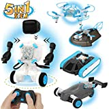 5 in 1 STEM Smart Remote Control Robot Vehicle Kit Electric Drone, Tank & Hovercraft DIY Science Learning Toys, Air and Land Multifunction Building Set Education Physics Courses Set for 6+ Kids