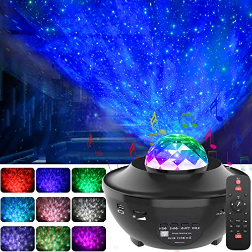 GeMoor Night Light Projector Ocean Wave Projector Star Projector Night Light Projector with Bluetooth Music Speaker for Baby Kids Bedroom/Game Rooms/Home Theatre/Night Light Ambiance