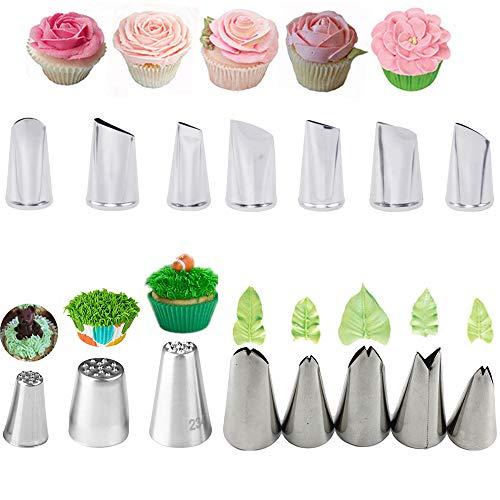 Spritztüllen, 15 Stück, Edelstahl, Blumen, Blätter, Gras, Zuckerguss, Spritztülle für Kuchen, Fondant, Cupcake