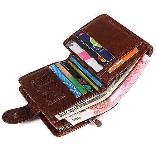 TTWLJJ Cartera para Hombre, Monedero con RFID Bloqueo con 12 Ranuras 12 Tarjetas, 2 Compartimentos para Billetes,1 Bolsillo para Monedas con Cremallera